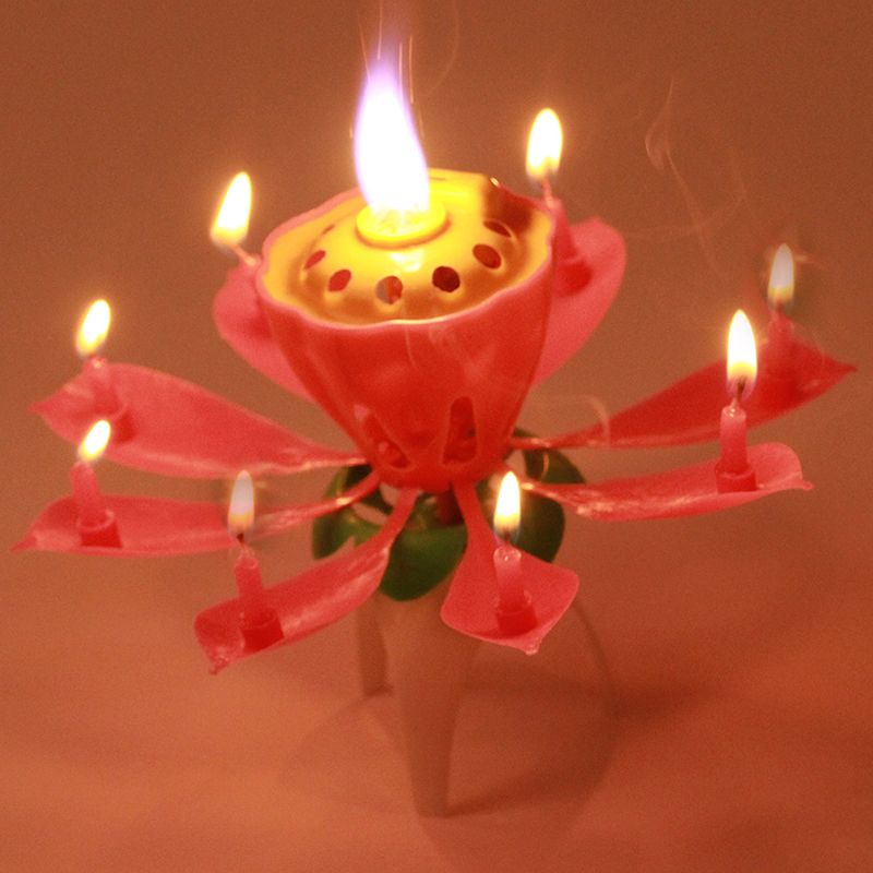 ... Flower-Candle-Birthday-Party-Cake-Music-Sparkle-Cake-Topper-Rotating
