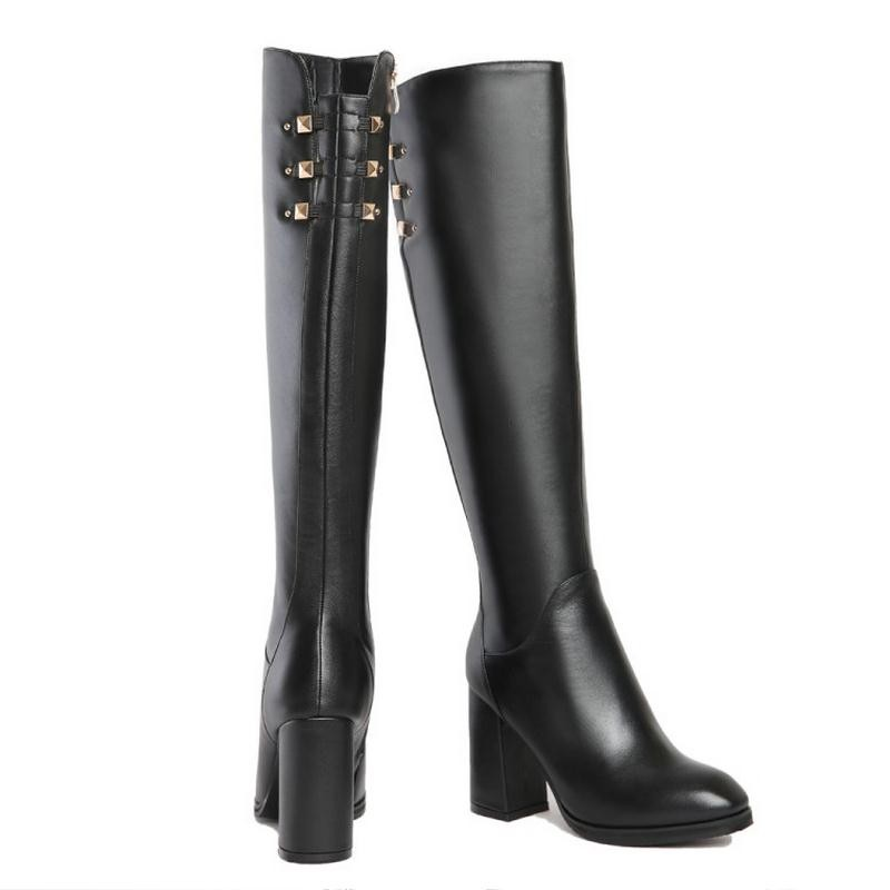 Brand Winter Women Boots Snow Natural Real Leather Knee Boots Sexy High Heels Pointed Toe Fashion Zipper Women Shoes Size 33-43