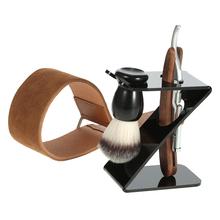 Buy 4 1 Men's Shaving Tools Kit Straight Razor + Shaving Brush + Brush Stand + Leather Strop Strap Barber Shaver Set Father Gift for $18.72 in AliExpress store