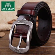AFS JEEP Men's leather belt youth outdoor leisure needle buckle leather belts men high quality