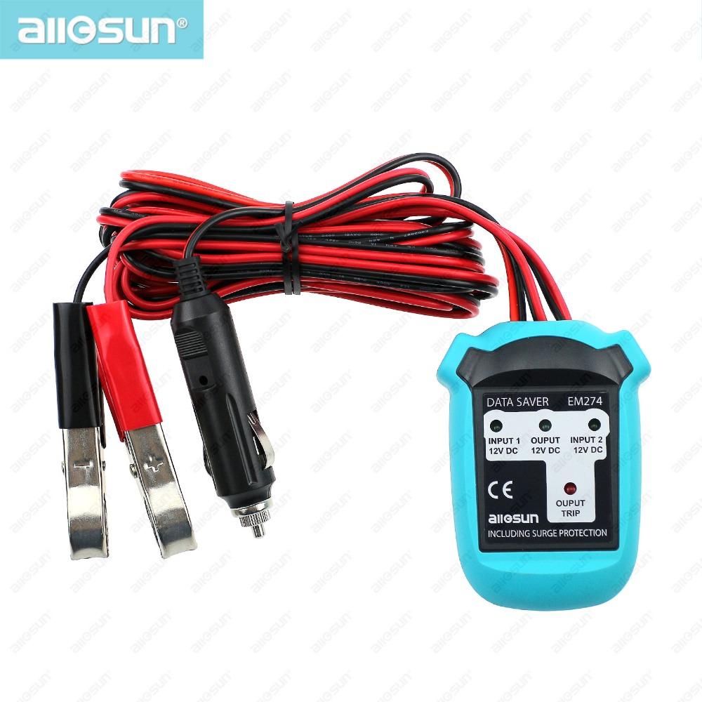 all-sun EM274 Car data saver 12V DC hold memory 2 adaptors automotive data saver automotive electrical tester(China (Mainland))