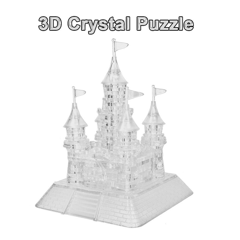 Beauty Crystal Puzzle Coolplay Castle Shaped Model 3D Crystal Puzzle Kids Toys Popular DIY Building Toys Crystal Puzzle(China (Mainland))