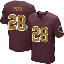 Men's #28 Darrell Green Elite Burgundy Red Gold Number Alternate 80TH Anniversary Football Jersey 100% Stitched(China (Mainland))