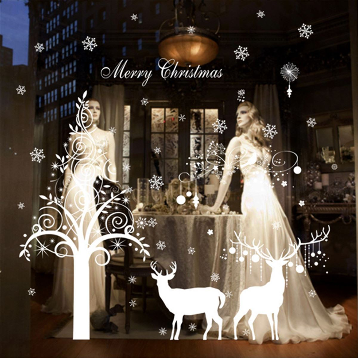 Buy pvc christmas theme window stickers for Christmas wall mural