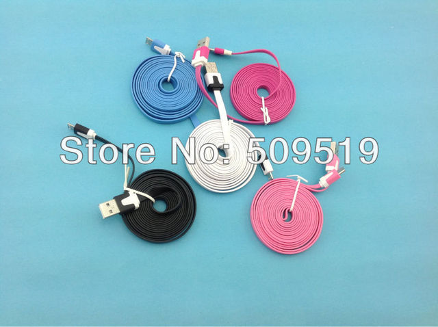 Fedex  shipping  n  200 pcs/lot 2M colorful Noodle flat  V8 micro usb data charger cable for Samsung&htc& nokia etc