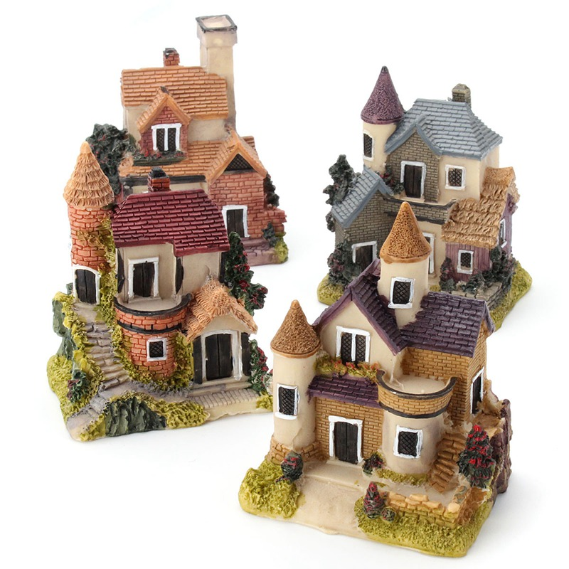 Vintage Mini Resin House Miniature House Fairy Garden Micro Landscape Home Garden Decoration Resin Crafts 4 styles Color Random(China (Mainland))