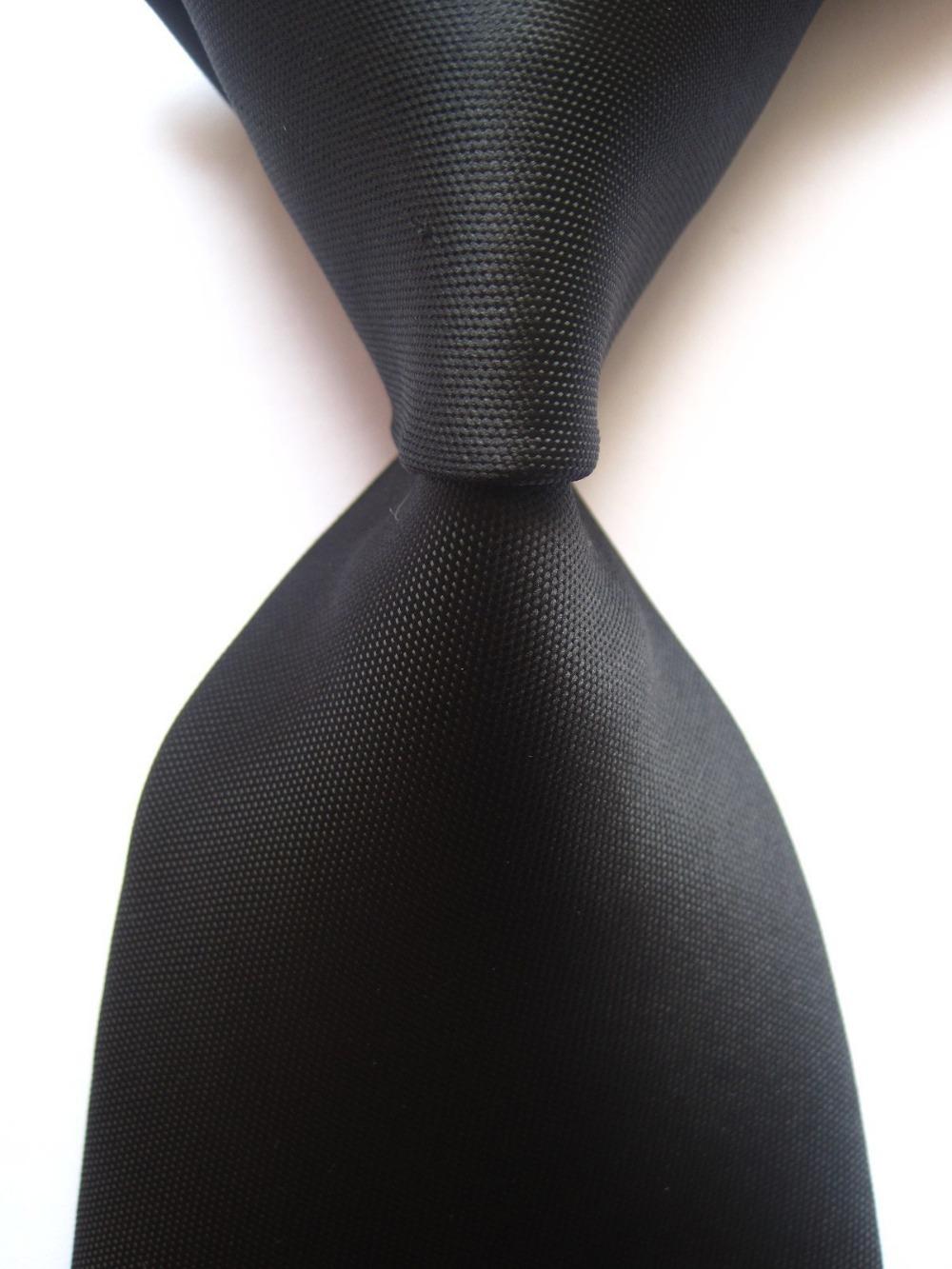New Classic Plain Solid Black JACQUARD WOVEN 100% Silk Men's Tie Necktie SN291(China (Mainland))