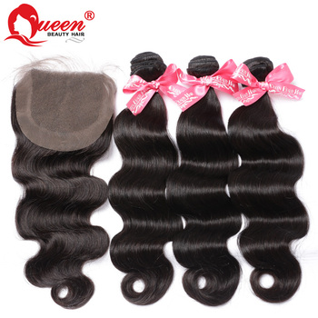 7A Unprocessed Virgin Brazilian Hair With Closure 4PCS Lot Lace Closure With Bundles,Brazilian Body Wave With Closure hair