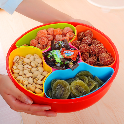 Plastic food containers fruit lattice with cover tray Candy box Festival snacks dried melon seed tray plate(China (Mainland))