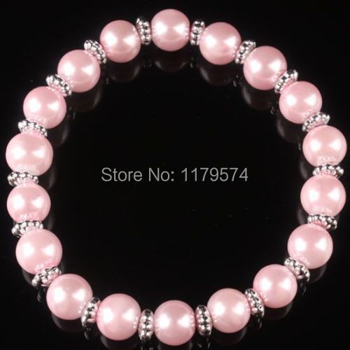 Hot new fashion charming free shipping Pink Glass Imitation Pearl Round Bead Bangle Bracelet Stretchy W0082(China (Mainland))