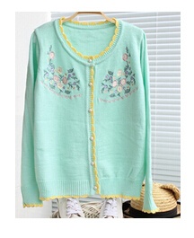 Wood ear embroidered knit cardigan sweater-in Cardigans ...