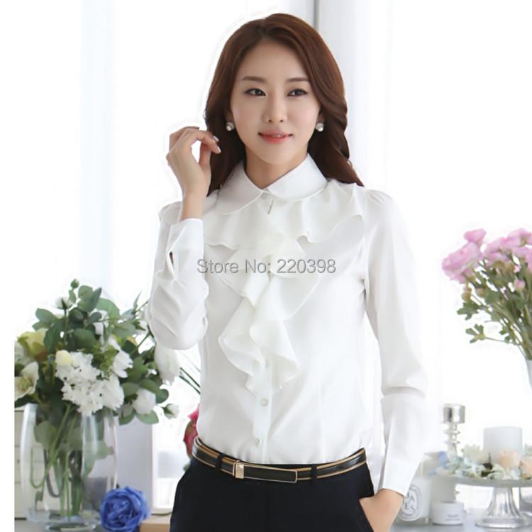 Женские блузки и Рубашки Ruffles Ladies White Black Office Blouses 2015 8C 81 женские блузки и рубашки 100% cotton blouses 100% 2015