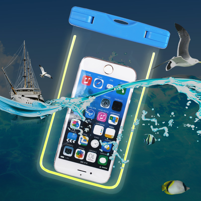 6 inch Universal Fluorescence Waterproof Case for Samsung Galaxy S7 S7 Edge Transparent Diving Swimming Bags for iPhone 6 Case(Hong Kong)
