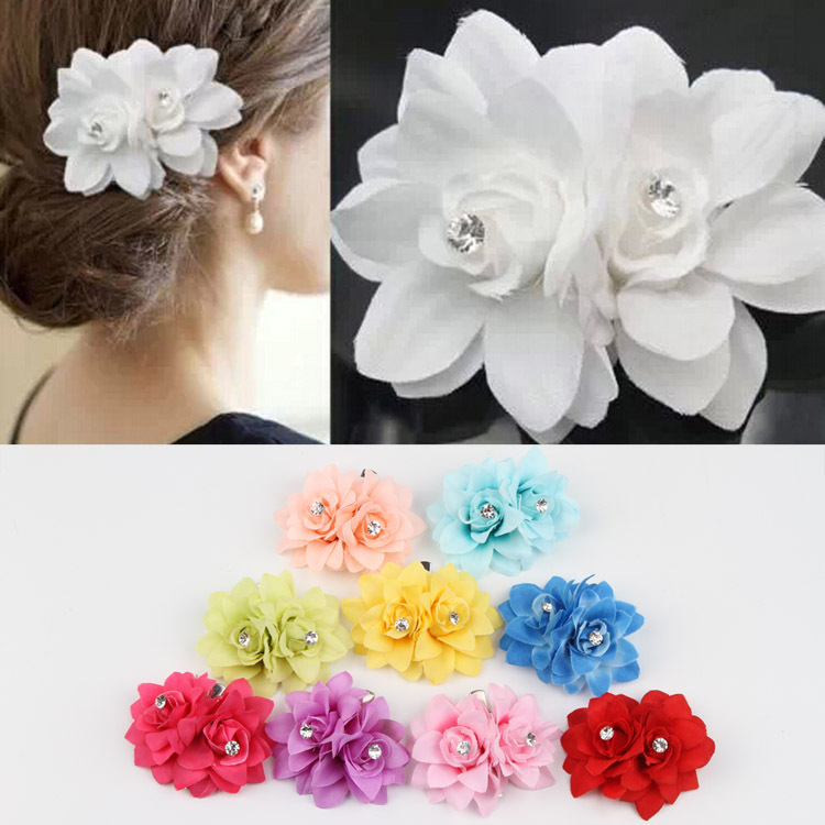 Chic Hair Accessories Wholesale 10 Colors Flower Clip Hairpin For Bridal Wedding Prom Party Gift For Girls Headwear-0040(China (Mainland))