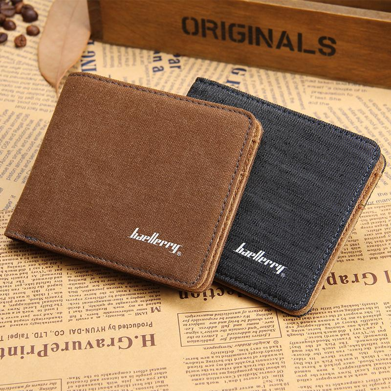 NEW 2015 Fashion Designers Famous Brand Canvas Solid Men's Wallets Money Clip Carteira Horizontal(China (Mainland))