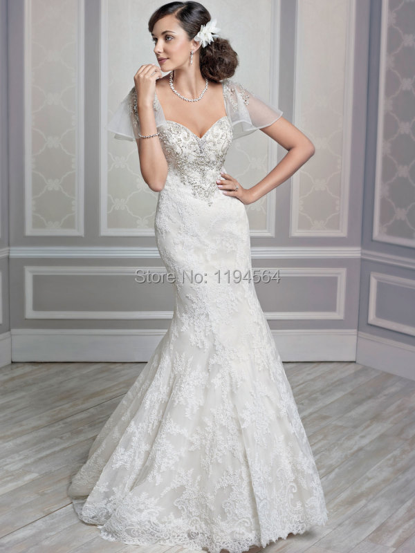 New Short Sleeve Wedding Dresses Crystal Beading Sweetheart 2015 China Bridal Gowns Lace Mermaid Vestido De Noiva Elegant WH2979(China (Mainland))