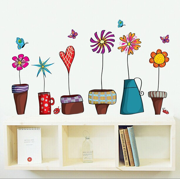 Hot style colorful potted sitting room background wall bookcase bedroom decorate children stickers Can remove the wall stickers(China (Mainland))