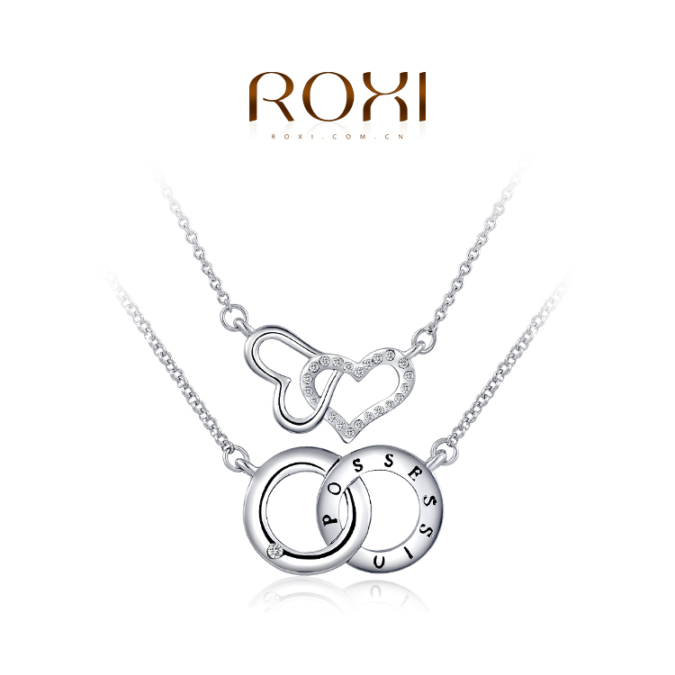 ROXI 2014 New Fashion Romantic Crystal Jewelry Body Chain Cross Circle Hearts Lovers' Necklaces Pendants For Women Wedding(China (Mainland))