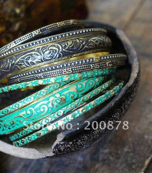 BB-286  Indian colorful brass slim vintage bangles set,65mm,5 pcs set,Bohemian Bollywood fashion dancing bracelet,best offer