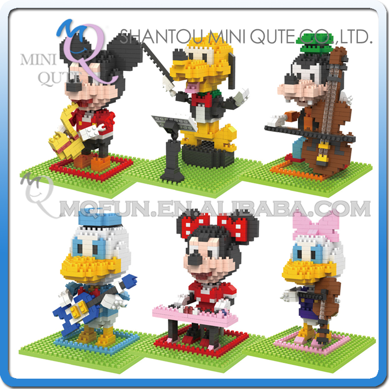 Wholesales 96 pcs/lot Mix 6 models Mini Qute BOB kawaii cartoon piano saxophone mouse plastic building blocks educational toy(China (Mainland))