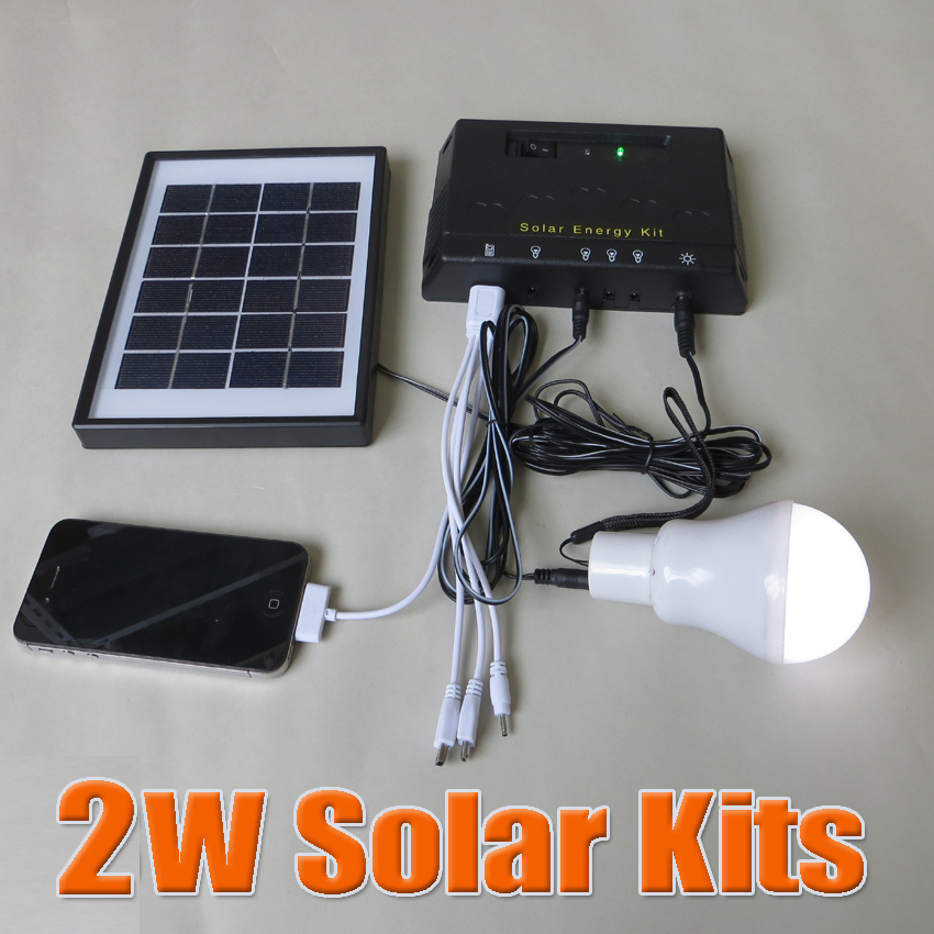 2W Solar power system 2 Watts solar kit for home led lamp with 5V USB multi connect mobile phone charger(China (Mainland))