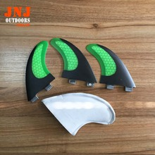 top selling carbon fiber green color surfboard FCS G5 fin with honeycamb(China (Mainland))