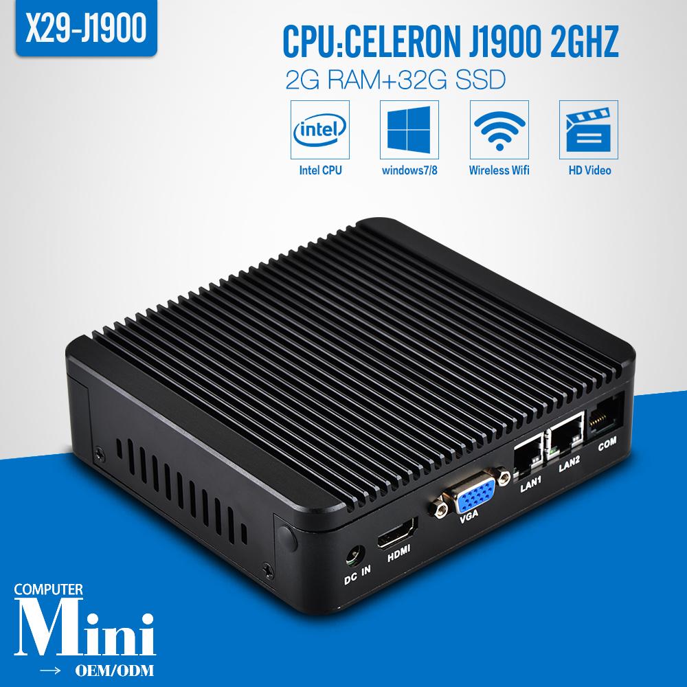 Mini pc linux desktop computers win8 mini pc X29 J1900-2 RJ-45 2g ram 32g ssd+WIFI 2GHZ support 2* USB3.0(China (Mainland))