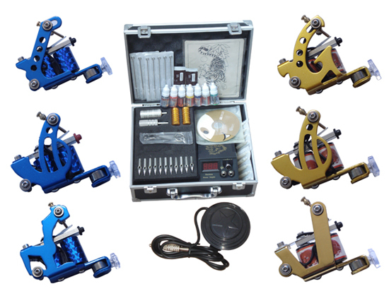 kit tattoo complete machine permanent makeup machine 6 tattoo machine professional tattoo kit(China (Mainland))