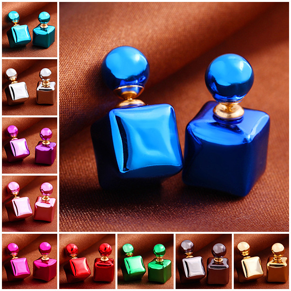 Design Fashion Charm Colorful Candy colors Bead Square Stud earrings jewelry Statement earring women 2015 - Sycamore Trade store