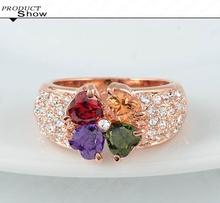 LZESHINE Brand Magic Heart Clover Zircon Ring Real 18K Rose Gold Plate Genuine SWA Element Flower