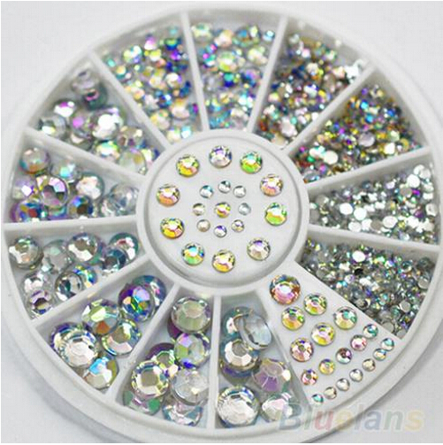 5 Sizes 400 Pcs Nail Art Tips Crystal Glitter Rhinestone 3D Nail Art Decoration+Wheel(China (Mainland))
