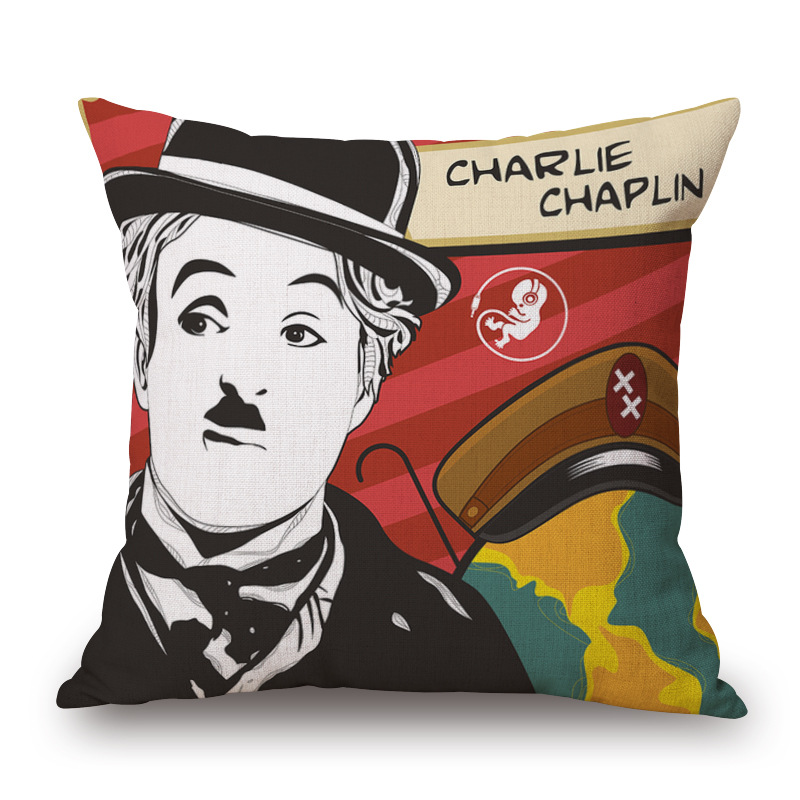 Marylin Monroe Charlie Chaplin Audrey Hepburn painting unique pillowcases home decorative linen cotton colorfull pillow covers