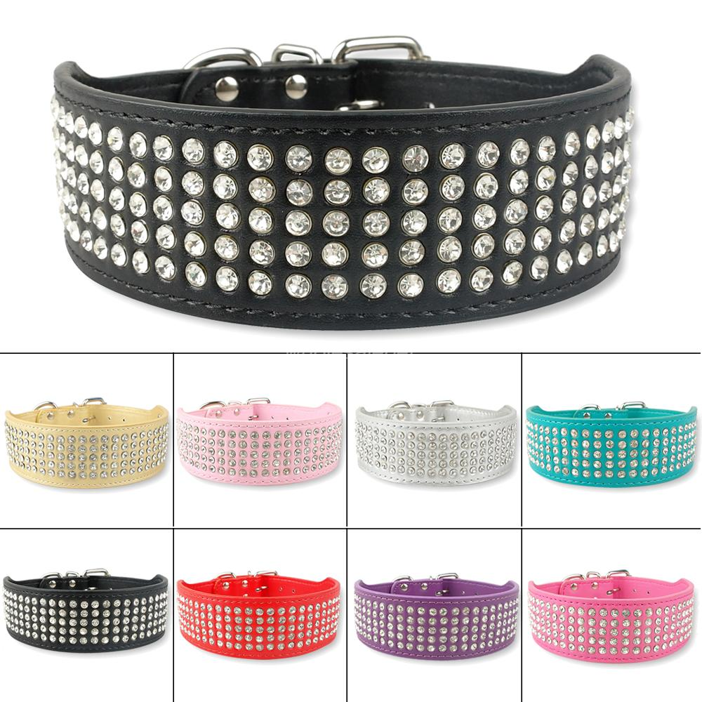 5 Rows Full Diamante Rhinestone  Leather Dog Collars Pet Products 8 Colors 2inch Wide(China (Mainland))