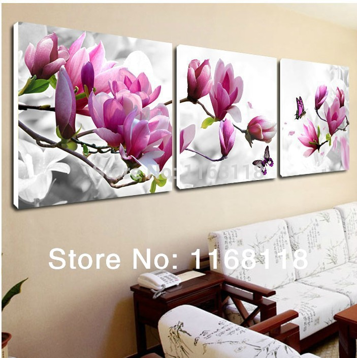 Buy 3 Piece Cheap Abstract Modern Wall Painting Purple Pink Flower