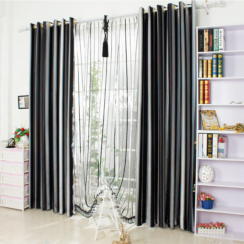 Black white striped curtains 2