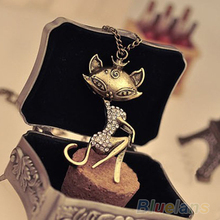 Vintage Mosaic Crystal Rhinestone Necklace Personality Sexy Cat Girl Chain Pendant  1NB8(China (Mainland))