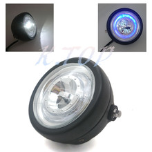 Motorcycle Black Metal Headlight With Blue LED Angel Eye For CG GN125 CB200 Chopper Bobber Cafe Custom(China (Mainland))