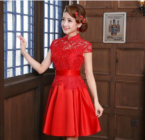 2015 summer style bride wedding Qipao dresses short red lace skirt suit cheongsam chinese traditional dress vestido de festaОдежда и ак�е��уары<br><br><br>Aliexpress