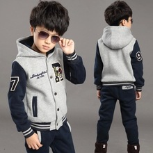 Children's Wear Winter Boy's Suit R New Style Big Boy Sports Outfit Boy Add Thick Clothes Children's Baseball Clothes(China (Mainland))