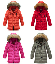 2015 winter thick Children long sections duck down jacket kids girls down jacket suit for winter  Nagymaros collar outwear coat(China (Mainland))