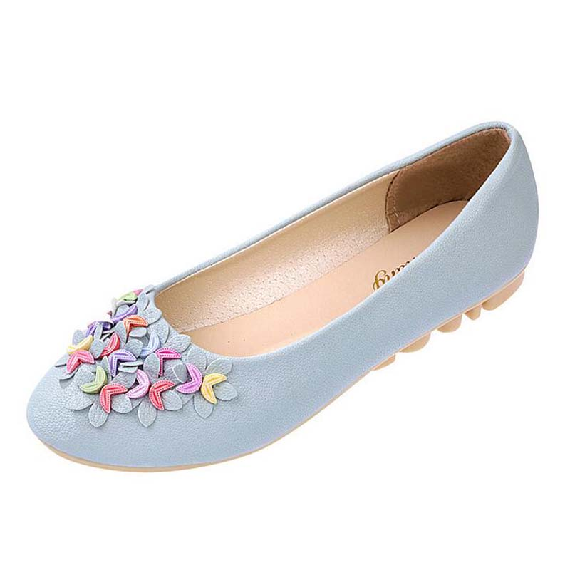 2016 New spring autumn fashion casual shoes point toe flats appliques flower flat shoes cute shoes soft leather creepers shoes(China (Mainland))