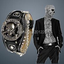 Antique Cover Design Watch Leather Analog Quartz Skeleton Cool Punk Skull Watch For Men.Fashion Male Clock.Caveira Reloj hombre(China (Mainland))