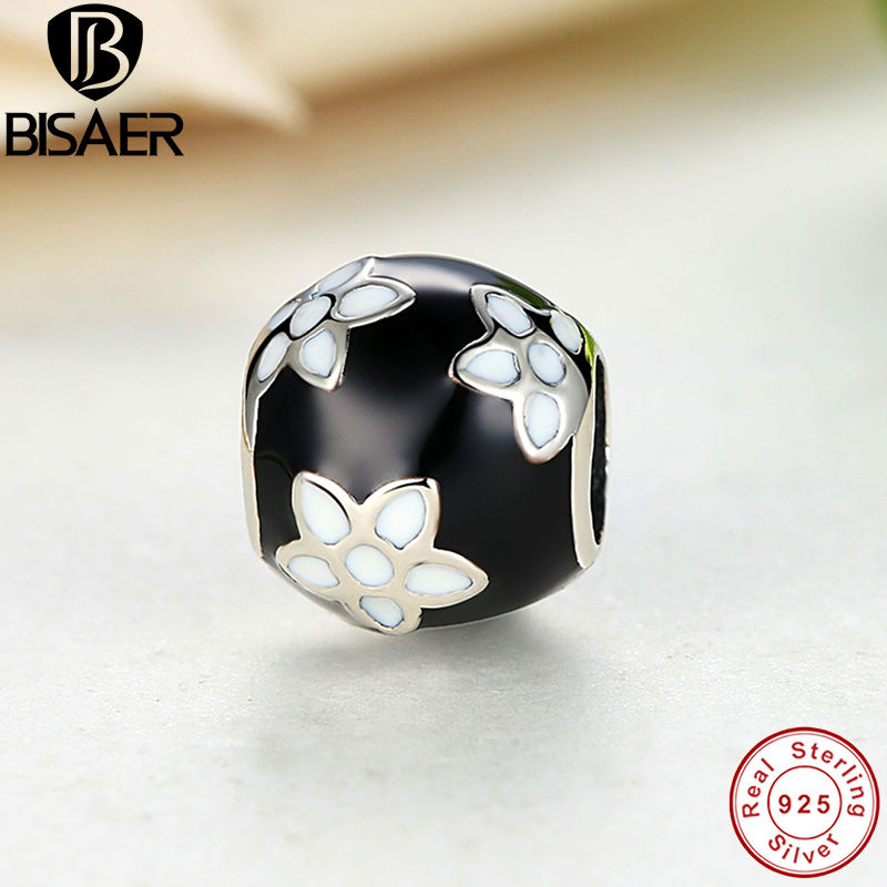 BISAER 2015 New Sterling Silver 925 Black & White Enamel Mystic Flower Original Charm Beads Fit Pandora Bracelet DIY Jewelry(China (Mainland))