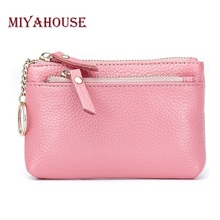 Buy Miyahouse Genuine Leather Women Wallets Short Coin Purse Candy Color Female Card Holder Wallet Key Ring Double Zipper Purse for $7.42 in AliExpress store