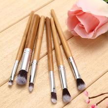 Professional 6 Pieces Bamboo Handle Eye Brushes Makeup Flat Brushes Cosmetics Professional Makeup Brush Set Hairbrush