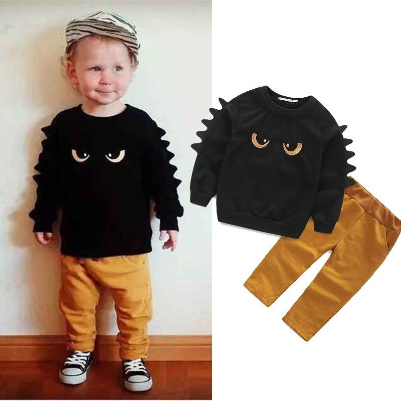 Autumn Winter Baby Boy Cute Clothing 2pc Pullover Sweatshirt Top Pant Clothes Set Baby Toddler Boy Outfit Suit(China (Mainland))