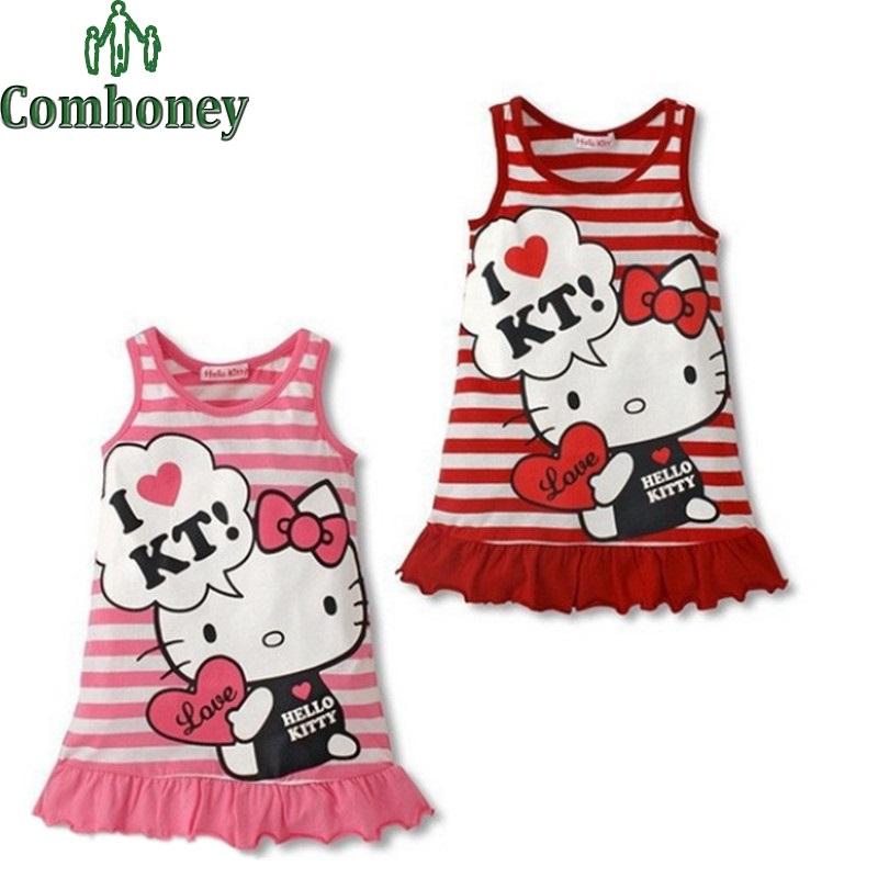 Hello Kitty Dress for Girls Sleeveless Cartoon Stripped Girls Princess Dress Children Stripped KT Dress Girls Summer Clothes(China (Mainland))