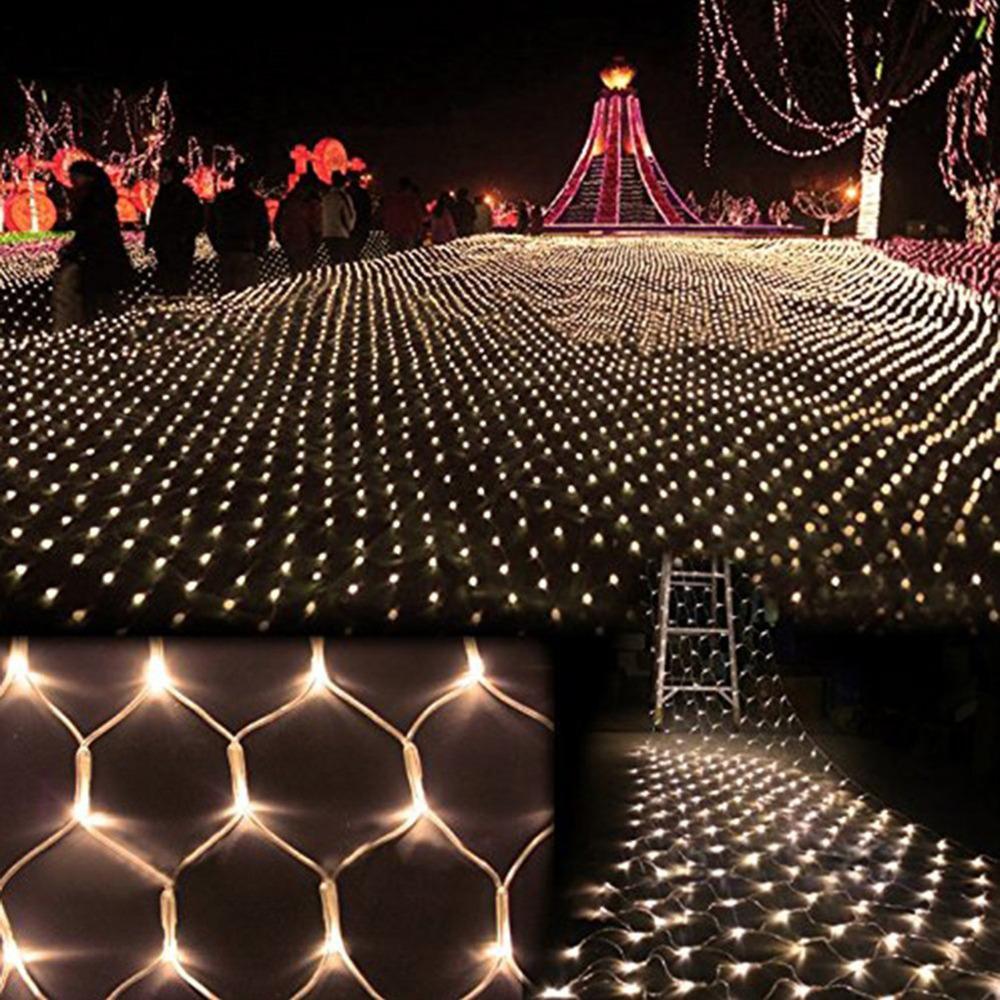 Romantic 2m*3m LED Holiday lights Christmas Tree Wedding Party Fairy String Light Wall Window Decor Net Mesh Curtain EU/US Plug(China (Mainland))