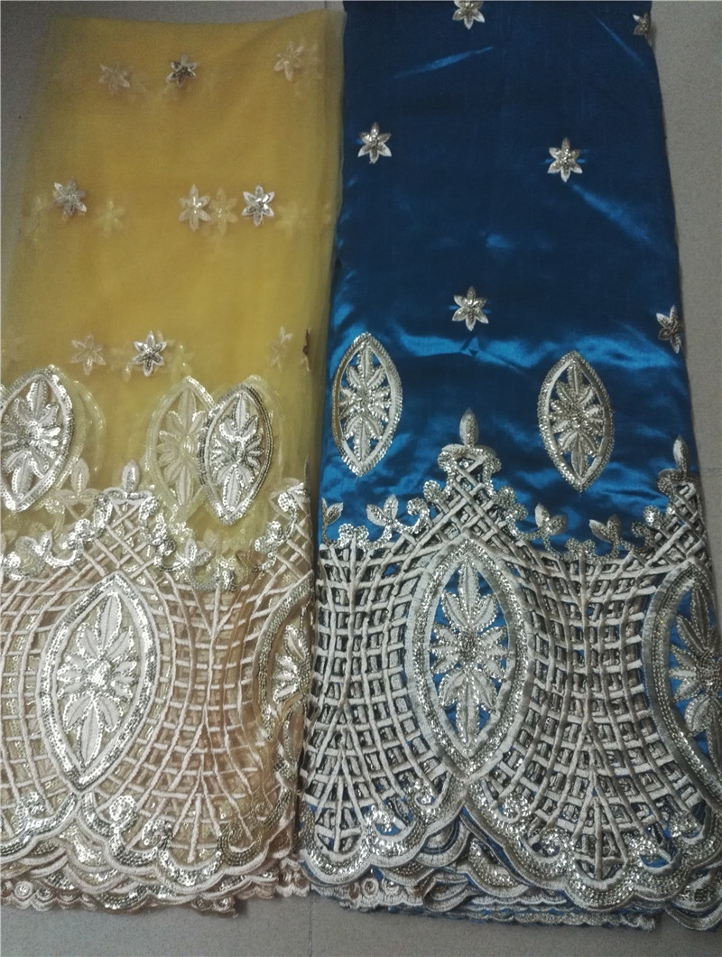 Wholesale Good quality cheap price Indian silk George lace fabric for deep green color,African George fabric with sequins(China (Mainland))