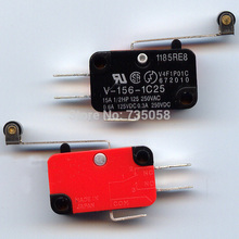 New 2015 hot selling 10Pcs/lot Microswitch Long Lever AC 250V 15A HV-156-1C25 SPDT Roller Lever Micro Switch Q0005 P